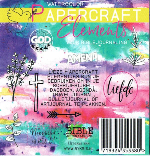 Watercolor papercraft elements biblejournaling achterkant