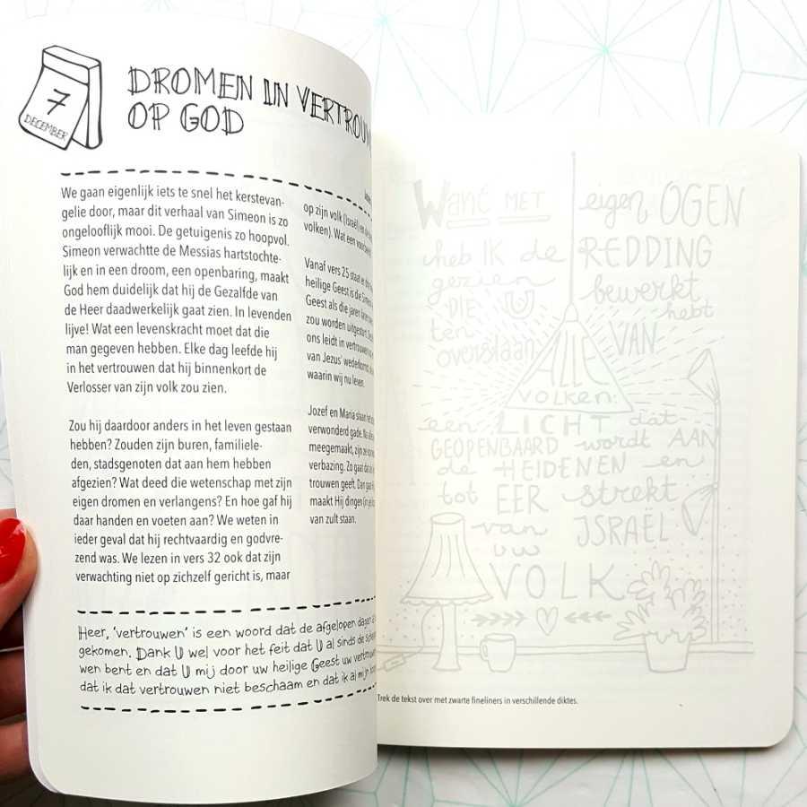 Droom biblejournaling handlettering boek binnenkant