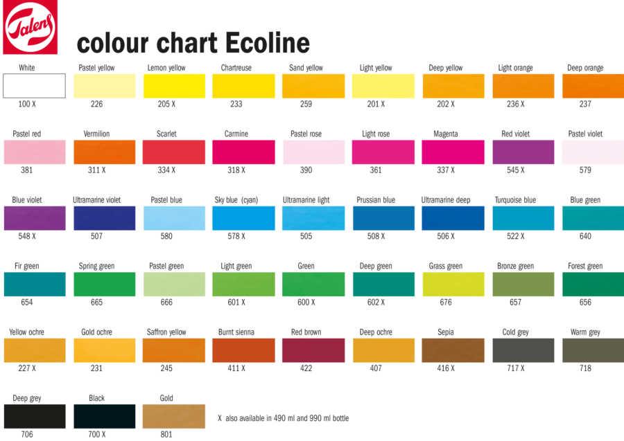 Ecoline kleurenkaart