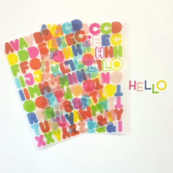 alfabet stickers vellum pink fresh