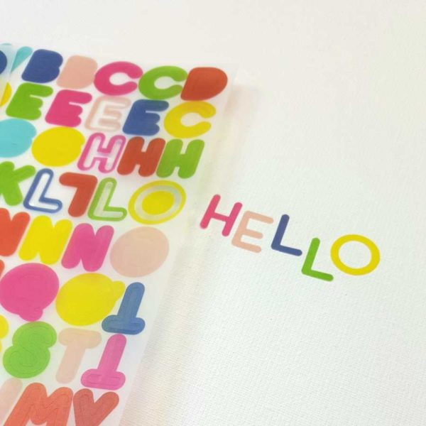 alfabet stickers vellum pink fresh close