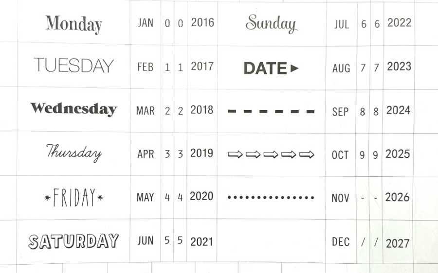 datumstempel bullet journaling opties