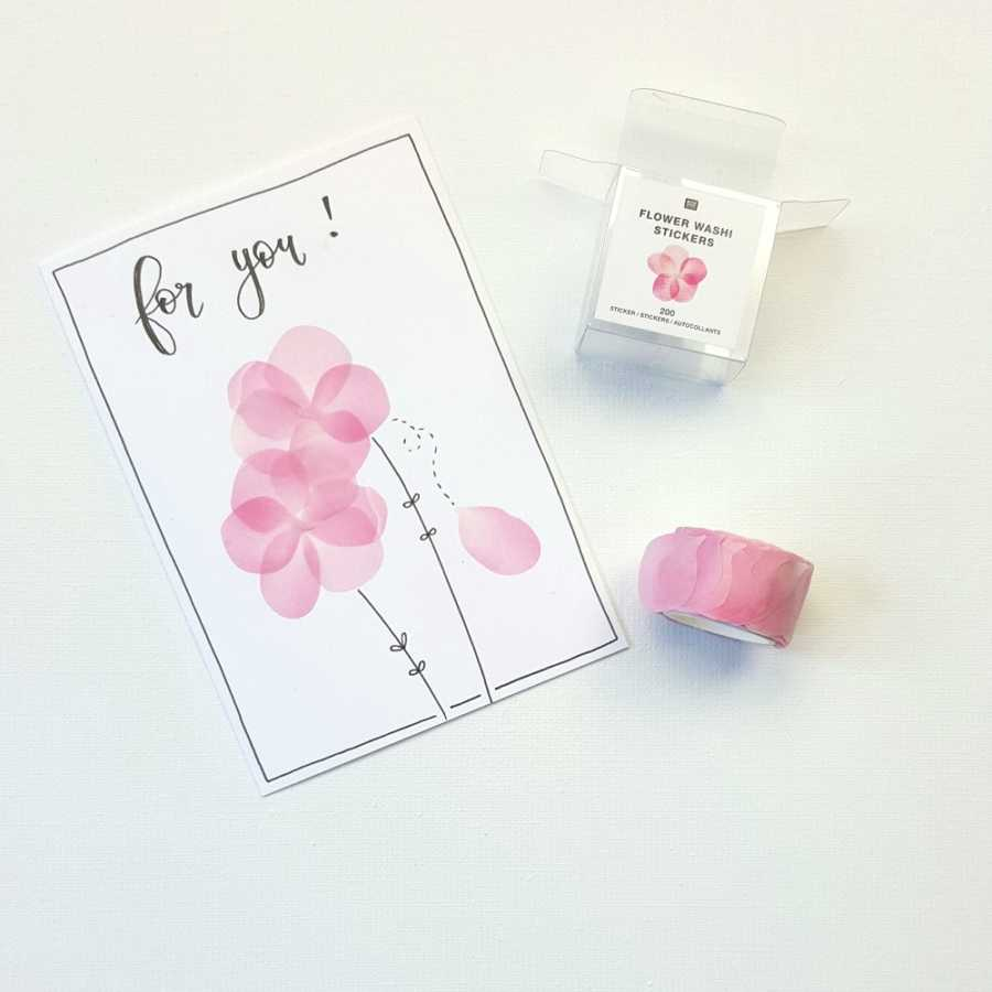 flower washi tape roze
