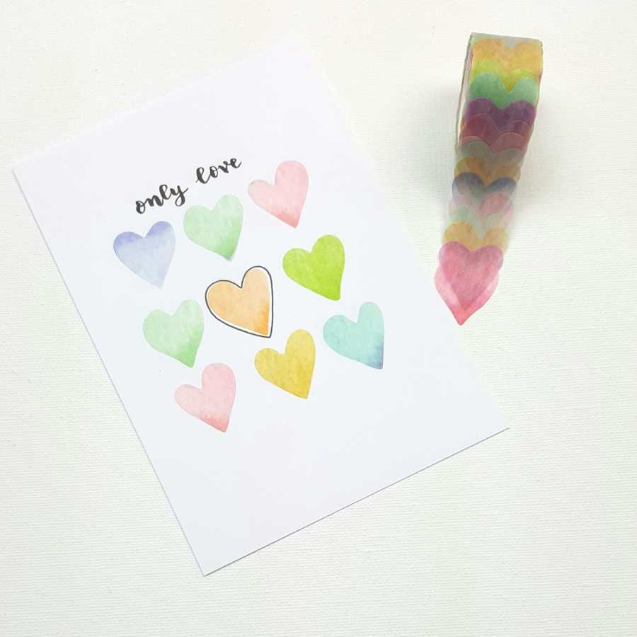 washi flower stickers hartjes