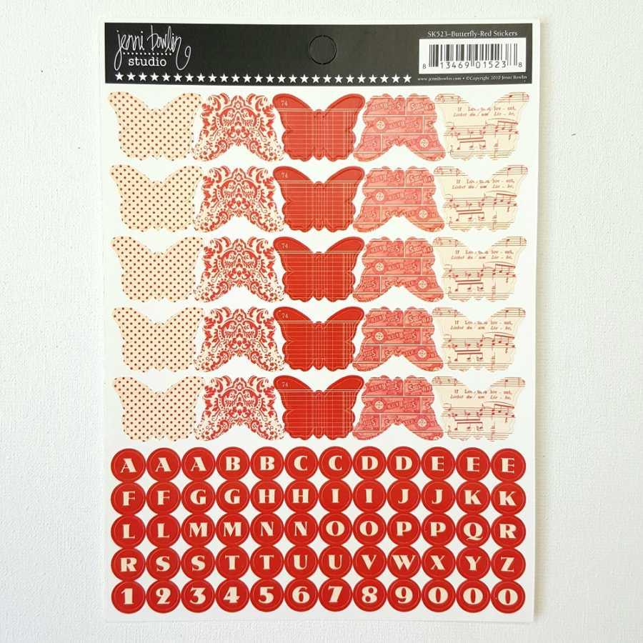 Letterstickers vlinder rood