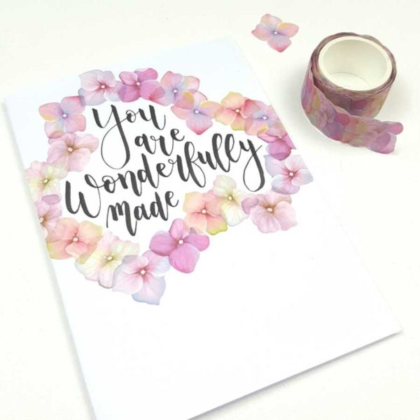 flower washi stickers hortensia kaart