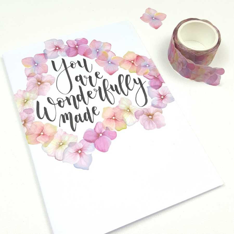 flower washi stickers hortensia kaart