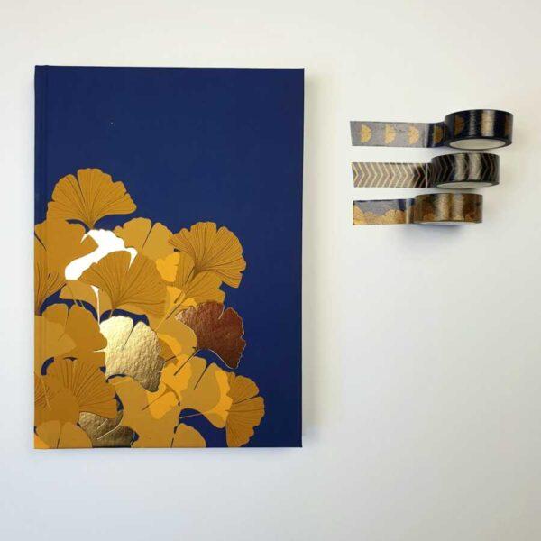 Bulletjournal gouden lijntjes blauw richness ginko