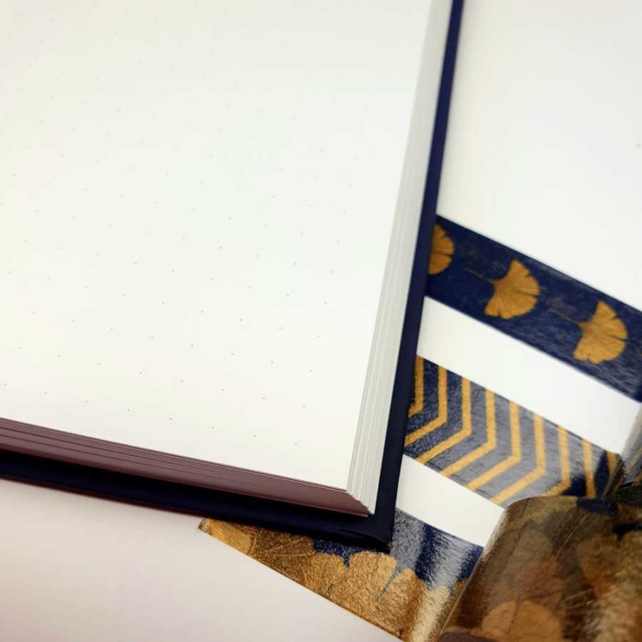 Bulletjournal gouden lijntjes blauw richness ginko binnenkant