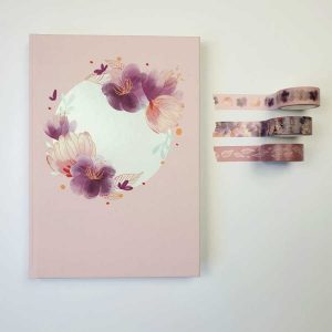 Bulletjournal gouden lijntjes roze bloemen cirkel