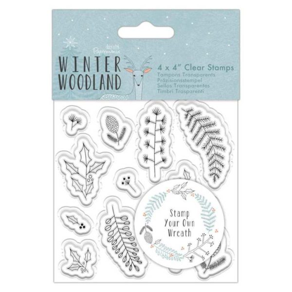 Winter woodland clearstamps make your own wreath krans