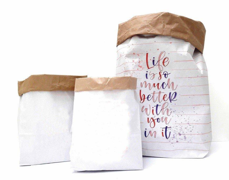 Paperbag blanco set van drie 3