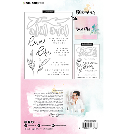 Karin Joan stamp and die cut blooming 2 achterkant