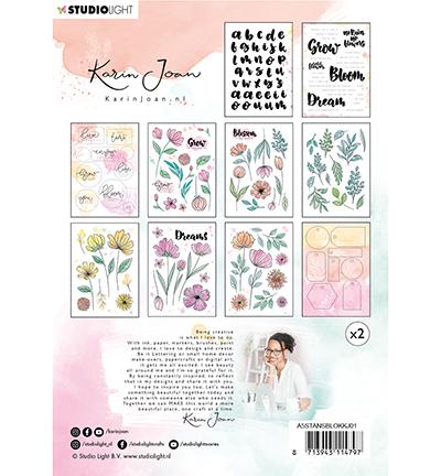karin joan die cut stansblok 1 blooming achterkant