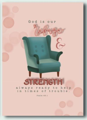 Ansichtkaart psalm 46 vers 1 God is our refuge and strength always ready to help in times of trouble