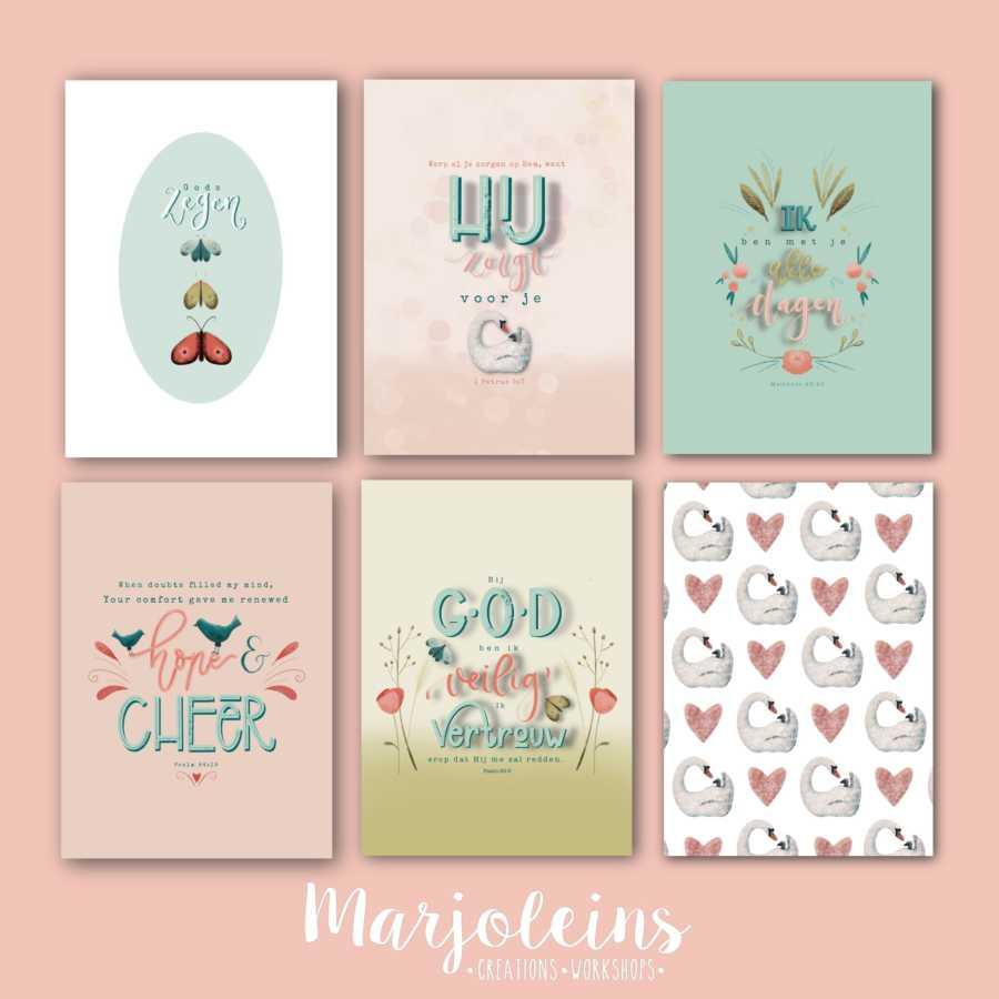Christelijke kaartenserie zegen 6 stuks