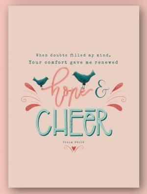Kaart Psalm 94:19 Your comfort gave me renewed hope and cheer