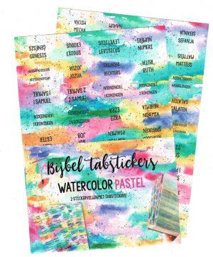 Bijbelboeken tabstickers watercolor pastel