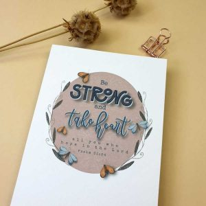Christelijke kaart psalm 31:24 'Strong'