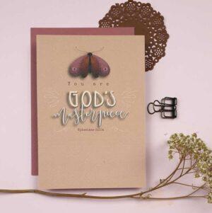 christelijke ansichtkaart your are gods masterpiece