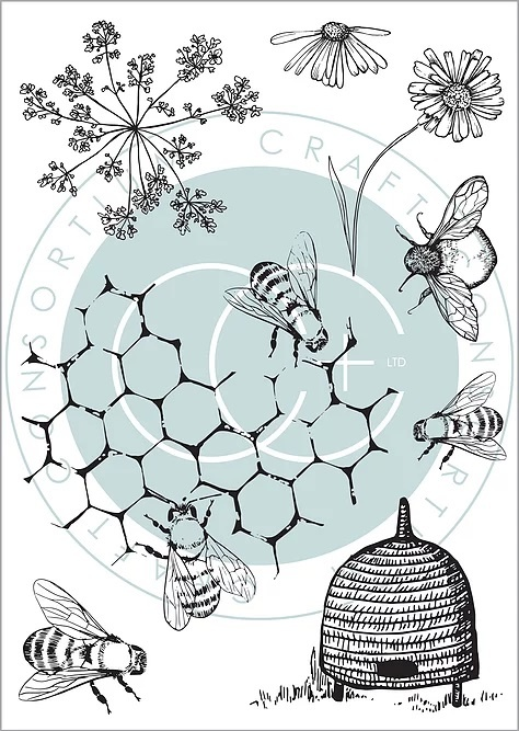 clear stamps tell the bees